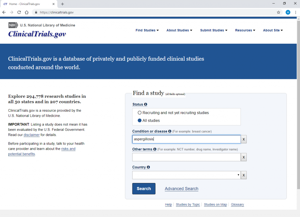 screengrab of clinical trials website