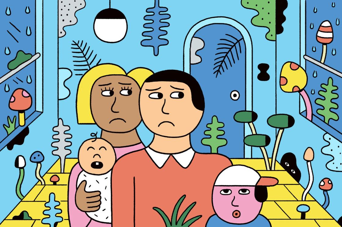 cartoon of family living with mould in their home